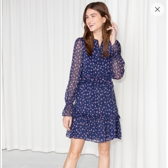 d2b4f23e13 Other Stories Dresses & Skirts - & Other Stories Blue Floral Layered Ruffle  Dress